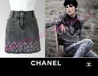 $1,850 CHANEL 2011 Destructed Denim Mini SKIRT * FR 40 / US 6 8 / M ~ PERFECT!
