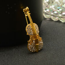 Women Jewelry Vintage Violin Crystal Autumn Clothing Accessories Brooch Pin