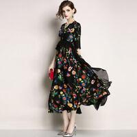 Women Boho Ruffles Sleeve Long Maxi Skirt Party Casual Beach Evening Dress Hot