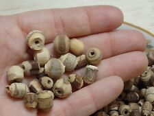 4 OZ lot. Wood Beads w/ Bark. Spacer, rustic, boho, hippie, nature, all natural.