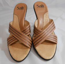 Sofft Tan & Bronze Leather X Strap Slip On Heels Sandals Womens Size 10 M