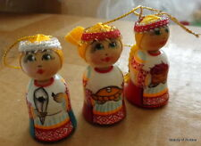 """set of 3 ornament Russian hand painted wood doll w/braid 2."""""""