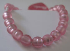 Girls Pink Beads Stretch Bracelet with Heart Charm