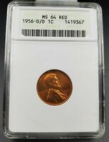 1956 D D/D Lincoln Wheat Cent Penny Coin ANACS MS64 RD Die Variety RPM 013