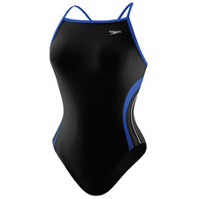 SPEEDO Rapid Splice Energy Back Swimsuit Size 6 32 Black Racing
