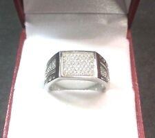 NUOVA zircone cubico handmade 14K strato su argento 925 UOMO rettangolo anello