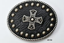 Men's Cross Belt Buckle Leather Pewter