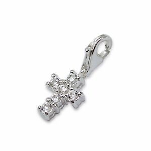 Silvadore CROSS Jesus Christianity CZ 925 Sterling Silver Clip On Charm Box 255