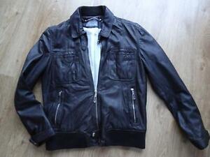 ZARA MAN mens dark brown real leather jacket coat LARGE VERY GOOD COND