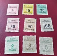 Kgl. Bayer.Staatseisenbahn 5,10,30,70,90, 100 Pfennig, 2 Mark,3 Mark und 5 Mark