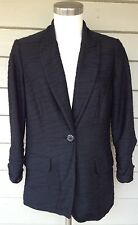 CHICOS Jacket Size 0 Black One Button 3/4 Ruched Sleeves Textured