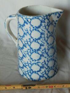 Antique blue spongeware pottery pitcher spatterware stoneware white 19th c.
