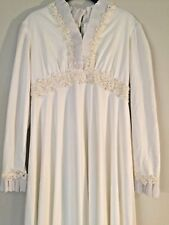 5eb5200b997 VINTAGE Ivory Lace WEDDING DRESS Women s Size S 2 4 Pearls~Pleats~Long  Sleeve