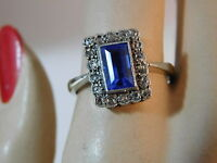 Victorian Platinum 9c White Gold Synthetic Blue Sapphire Cocktail Ring 11e 14