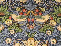 "WILLIAM MORRIS CURTAIN FABRIC ""Strawberry Thief""  1 METRES INDIGO AND MINERAL"