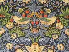 "WILLIAM MORRIS CURTAIN FABRIC ""Strawberry Thief"" 1.3 METRES INDIGO & MINERAL"