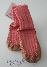 HANNA ANDERSSON Baby Swedish Moccasins Slippers Charming Pink 1-2 16-17 NWT