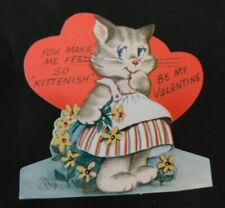 "Vintage 1950's School Valentine Girl Kitten ""You Make Me Feel So Kittenish"" V207"