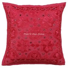 Traditional Cotton Couch Pillow 16 x 16 Inch Embroidery Mirror Cushion Cover