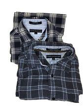 2 Tommy Hilfiger Men's Medium Button Down Plaid Flannel Dress Shirt Long Sleeve