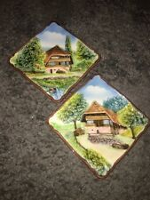 """2 Plates 8.25"""" Square CERAMIC MADE IN WESTERN GERMANY 3D RELIEF MOUNTAIN CHALET"""