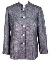 Chicos Jacket Sz 0 Metallic Tweed Blazer Rhinestone Buttons (S Small 4 / 6) NWT