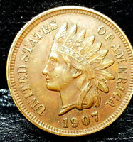 1907 Indian Head Penny Cent- AU+/UNC Condition Great Eye Appeal (Priced to Sell)