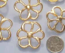 """Pierced Realistic FLOWER Set 6 VTG New GOLD Metal buttons 41mm 1 & 5/8"""" LARGE"""