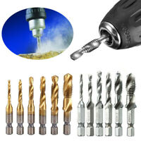 6pcs/set HSS M3-M10 Hex shank Metric Drill Bits Tap Countersink Screw Thread