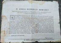 1692 233) BANDO DA FOSSANO SU FIENO PER I SOLDATI IN GUERRA A VIGONE PIEMONTE