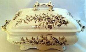 FURNIVAL & Sons SPRAY Covered Tureen - Victorian English Brown/Crm Transferware