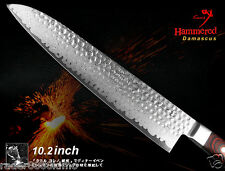 "Japanese Damascus hammered Vg10 Gyuto Chef's Knife 10.2"" Full Tang Handmade"