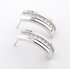 HUCHE 18k Silver Gold Filled Clear Sapphire Diamond Women Lady Earrings Ear Stud