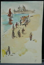 Dessin Original Aquarelle PAUL COUVREUR Plage Maroc 1930 PC140
