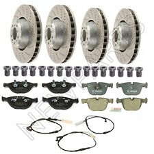 NEW BMW E60 E63 Front & Rear Brake Rotors + Screws and Pads with Sensors Kit
