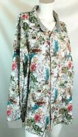 tallia men's shirt 2x long sleeve button down  contrasting cuffs floral white