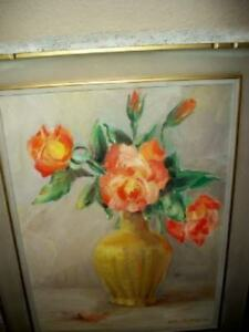 1940s ROSES OIL PAINTING PERIOD FRAME ORANGE YELLOW SIGNED EARLY MID CENTURY