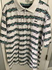 ENYCE Clothing Co. - Short Sleeve POLO Shirt - 2XL XXL - striped Flowers & Birds