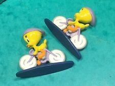 Tweety figure pair 1996 warner bros croco London W4 on bicycle? 55mm long