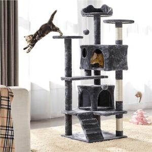 137cm Large Cat Tree Tower, Cat Scratching Posts/2- Kitten Condo/ Cat Toys,  Use