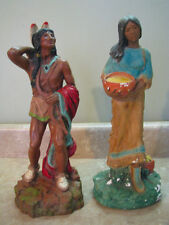 "NATIVE AMERICAN INDIAN Vtg Statue Set MAN & WOMAN W/BABY Sculpture 14.5"" TALL"