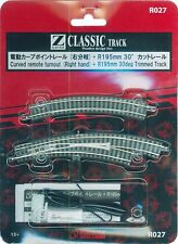 Rokuhan R027 Curved Remote Turnout Right Hand & R195mm 30o Track 1/220 Z Scale