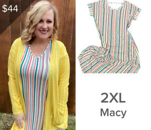 NEW LuLaRoe Macy 2XLarge 2XL Dress  Newest Release Striped