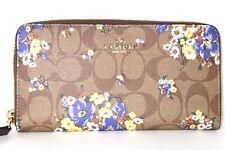 Coach Signature Zip Around Wallet Khaki Multi Bouquet Floral F31572 NWT $250