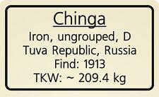 Meteorite label Chinga