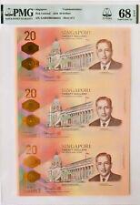 2019 SINGAPORE 20 DOLLARS COMMEMORATIVE UNCUT SHEET OF 3 PMG 68 EPQ S.GEM UNC