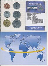 Nicaragua - KMS 6 Münzen aus 1997-2007 - UNC Satz mit BTN Zertifikat