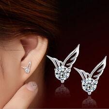 Women Silver plated Jewelry Angel Wings Crystal Ear Stud Earrings ONE