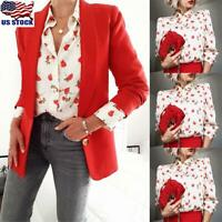 Women Floral Button Down Tops Shirt Ladies Puff Sleeve Casual T-Shirt Blouse US