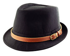 Classic Trilby Fedora Hat - Detachable Faux leather Belt Band Black Brown Navy